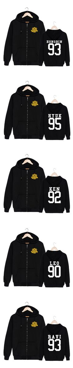 HPEIYPEI KPOP Korean Fashion VIXX Album CHOOL N LEO RAVI KEN HYUK HONGBIN Cotton Zipper Hoodies Clothes Zip-up Sweatshirts PT276