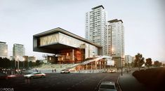 D-Focus Cultural Arts Center by Cheol-min Kim Concept Architecture, Landscape Architecture, Interior Architecture, 3d Architectural Visualization, Architecture Visualization, Exterior Rendering, Modern Buildings, Building Design, Skyscraper