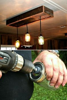 Nice tutorial from Tom and Jolynn on their West Virginia Mountain blog to make your own Mason Jar pendant lighting chandelier made from old barn wood ! #chandelier #diylighting #handmadelighting #lamp #lightfixture #lighting #lightingdesign #masonjars #pendantlamp #recycle #tutorial #woodlamp #woodworking