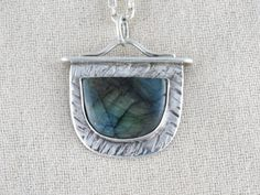 Labradorite and Sterling Silver Pendant by Sterlingandstoneart