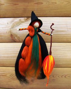 hedge witch by jade shen, needle felted witch, wool kitchen witch, wool witch doll, magick witch pagan, wiccan witch doll, halloween witches by elfkendalfairies on Etsy