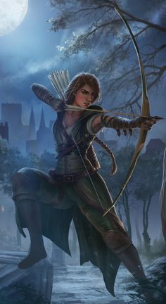 f Rogue Thief Leather Armor Cloak Longbow urban City Night Mixed forest River Kristyn by FP Spirit lg Character Inspiration, Character Art, Character Portraits, Dnd Characters, Fantasy Characters, Elf Drawings, Anime Elf, Arcane Trickster, Archery Girl