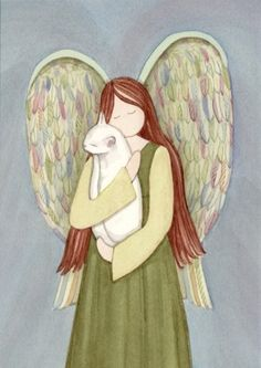 White Cat in Angel's Arms / Lynch signed folk art print. $12.99, via Etsy.