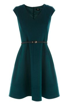 This structured tailored dress is perfect for festive dinner parties and after work drinks. The piece features a v neckline and cap sleeve styling. The dress has a nipped in waist with skinny belt for a flattering fit and is finished on the reverse with a concealed zip fastening.