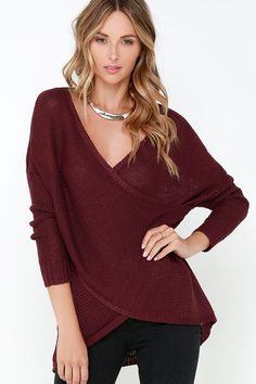 If your sweater dreams are filled with soft knits and chic designs, then indulge in the Sweet Schemes Burgundy Wrap Sweater! This loosely knit, cotton-blend sweater has a wide surplice bodice with fitted, ribbed sleeves, and a subtle high-low hem. Unlined and slightly sheer. 95% Acrylic, 5% Cotton. Hand Wash Cold or Dry Clean.
