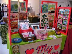 really cute way to display greeting cards individually at a show...love this idea