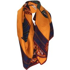 Pre-owned DKNY Jeans Signature Patterned Silk Scarf (£60) ❤ liked on Polyvore featuring accessories, scarves, yellow, pure silk scarves, print scarves, dkny, yellow silk scarves and silk scarves
