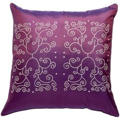 One Kings Lane - Pillows We Love - Siw Thai Silk Trellis Pillow, Plum ❤ liked on Polyvore featuring home, home decor, purple, purple home decor and purple home accessories