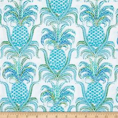 Michael Miller Tradewinds Pineapple Express Isle from From Michael Miller, this cotton print fabric features beautiful pineapples and is perfect for quilting, apparel and home decor accents. Colors include white and shades of blue and green. Pineapple Fabric, Tropical Fabric, Pineapple Print, Coastal Fabric, Pineapple Express, Curtain Lining Fabric, House By The Sea, Michael Miller Fabric, How To Dye Fabric