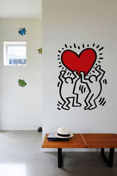 Keith Haring makes the graffiti pop art into real art, as so began their use in interior decoration art. Keith Haring, Haring Art, Wall Stickers, Wall Decals, Wall Art, Patterned Wall Tiles, Tableau Design, Wall Patterns, Graffiti Art