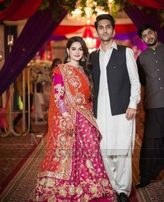 Minalkhan with Manzoorkhan They look beautiful together Pakistani Wedding Outfits, Bridal Outfits, Pakistani Dresses, Indian Dresses, Indian Outfits, Indian Sarees, Pakistani Couture, Indian Couture, Indian Designer Outfits