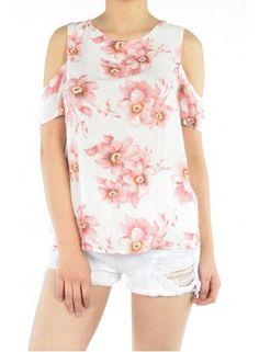 Cut Out Shoulder Floral Print Top