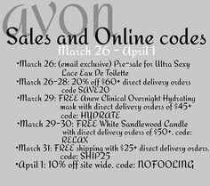 Here are our upcoming coupon codes. Shop my estore at youravon.com/cjc98. At checkout don't forget to enter your coupon codes. #shopping #onlineshopping #avoncouponcode #avoncoupon #couponers  #avon  #avonlady