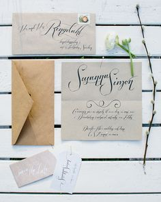 wedding invitation brown paper.  therese winberg photography and set design. www.theresewinberg.com