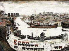 Dockside, Sunderland by Laurence Stephen Lowry Salford, Sunderland, Family History Book, History Books, Art History, Environment Painting, Built Environment, Industrial Paintings, Victorian Buildings