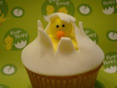 Hatching Chick cupcake !  Super cute for Easter, or Spring tea party!