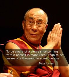 Dalai Lama    shortcomings remove the plank in your eye before trying to remove the speck in your brothers