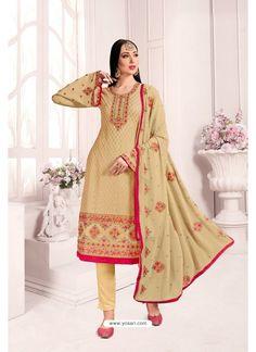Beige Georgette Party Wear Salwar Suit Lehenga Choli, Raw Silk Lehenga, Costume Marron, Costume Vert, Georgette Fabric, Pakistani Suits, Salwar Suits, Churidar
