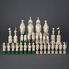 Anglo Indian John Company Carved Ivory Chess Set, Berhampore, Bengal, the opposing armies The Saleroom, Chess Sets, Chess Pieces, Art Auction, World Cultures, Bengal, Ceramic Art, Online Art, Vintage Silver