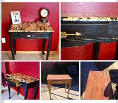 Desk makeover with decoupaged wrapping paper and DIY chalk paint. A friend gave me this desk! I rescued it with gift wrap on clearance from Michael's and some DIY chalk paint made from SW Tricorn Hat (a color match for ASCP Graphite). After sanding and distressing I put on a coat of Minwax Wood Finish in Ebony. After the modpodge dried I aged it with some walnut stain wiped off quickly after application. A Hobby Lobby pull finished it off! #ASCPgraphite #homemadechalkpaint #painteddesk