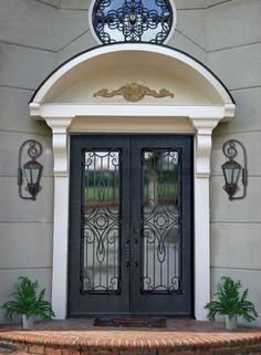 Front door painted navy with frosted glass rectangle, screen door painted navy also. Doors, Bathroom Design Small Modern, Escalier Design, House Exterior, Types Of Doors, Steel Doors, Painted Front Doors, Metal Door, Iron Doors