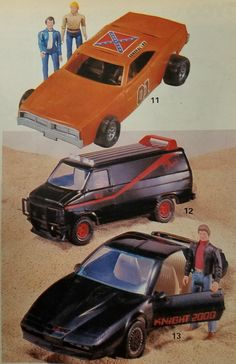 Toys of the General Lee, A-Team van, and KITT from the 1984 Sears Wish Book.