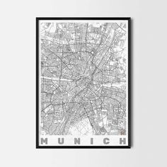 Munich art prints -Art posters and prints of your favorite city. Unique design of a map. Perfect for your house and office or as a gift.