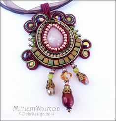 Soutache Pendant necklace in Burgundy Olive and por MiriamShimon