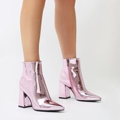 b34632f5d940d1 Empire Pointed Toe Ankle Boots in Pink Metallic