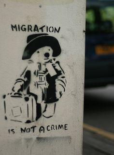 """(Banksy) """"Migration is not a crime"""" Bristol, UK / Street Art ( ) Street Art Banksy, Banksy Graffiti, Graffiti Lettering, Urbane Kunst, Political Art, Street Signs, Street Artists, Graffiti Artists, Grafik Design"""