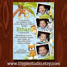 Printable mod monkey birthday photo invitation free thank you card boys jungle themed birthday invitation filmwisefo Image collections