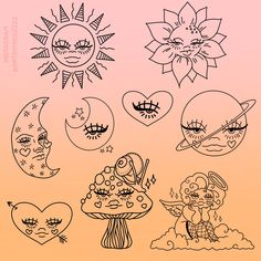 """✨MEGZ✨ on Twitter: """"I can't stop turning my art into tattoo outlines, it's so fun 💉… """" Indie Drawings, Trippy Drawings, Psychedelic Drawings, Cool Art Drawings, Art Drawings Sketches, Kritzelei Tattoo, Hippie Painting, Hippie Drawing, Arte Sketchbook"""