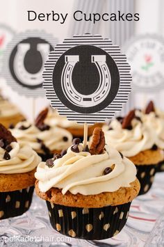 Kentucky Derby Cupcake Recipe -(inspired by Derby Pie) - Watch out, they are soo good--- Brown Sugar Chocolate Chip Pecan Cake recipe with Brown Sugar Cream Cheese Frosting!