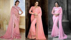 Beautiful Chiffon Designer Saree In Pink Color