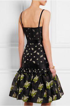 Alexander McQueen | Satin-trimmed silk-blend jacquard and tulle dress | NET-A-PORTER.COM