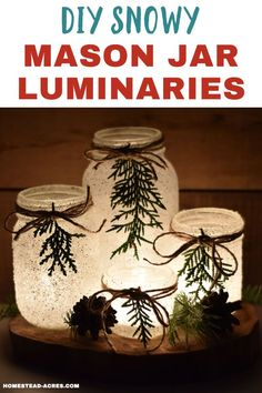 DIY Snowy Mason Jar Luminaries (Quick & Easy) - Homestead Acres DIY Snowy Mason Jar Luminaries - How to make your own snowy mason jar candle holders. They are the perfect quick and easy Christmas craft to warm up your holiday decor. Christmas Jars, Easy Christmas Crafts, Simple Christmas, Christmas Holiday, Christmas Decorations Diy Easy, Candle Decorations, Xmas, Modern Christmas, Scandinavian Christmas