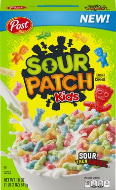 If your childhood was anything like ours, your idea of cereal was more plain Cheerios than the one that's basically cookies in a bowl (not naming names). But now, Post is releasing a Sour Patch Kids cereal. Kids Cereal, Cereal Boxes, Types Of Cereal, Cornflakes, Sour Patch Kids, Snack Recipes, Snacks, Weird Food, Breakfast Cereal