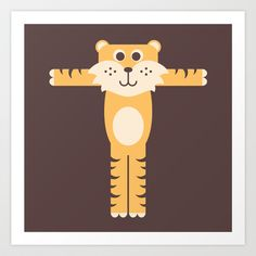 Letter T // Animal Alphabet // Tiger Art Print by Jen Montgomery - $20.00