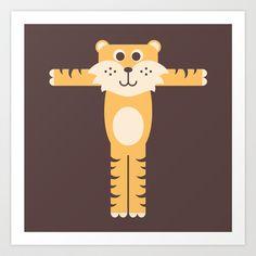 Letter T // Animal Alphabet // Tiger Art Print by Jen Montgomery - $20.00