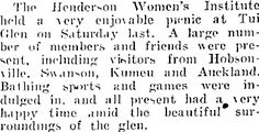 Womens Institute picnic at Tui Glen, Henderson. Womens Institute, Auckland, Picnic, Star, History, Picnics, All Star, Historia, Stars