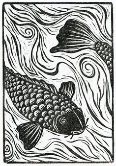 Neil Brigham, koi - heads or tails. Neil's work has been recognized and shown at the Society of Illustrators in New York and Los Angeles. His block prints have also appeared in shows in New Zealand, Ireland and Wales. Neil lives in beautiful western Mass Linocut Prints, Art Prints, Block Prints, Lino Art, Linoleum Block Printing, Linoprint, Wood Engraving, Brainstorm, Woodblock Print