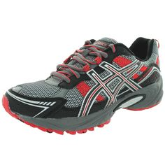 ASICS Men's GEL-Venture 4 Running Shoe,Charcoal/Black/Red,7 M US. Logo-accented running shoe with mesh upper featuring synthetic overlays and multi-surface high-abrasion outsole for uneven terrain. Removable sockliner. Rearfoot GEL cushioning system.