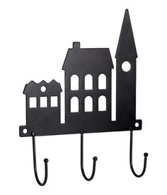 Check this out! Metal hanger with building silhouettes and three hooks. Two holes for hanging. Screws not included. Size 1 1/2 x 6 x 7 1/2 in. - Visit hm.com to see more.