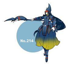 Pokémon - 214 Heracross art by Momosiro (Sankaku Channel)