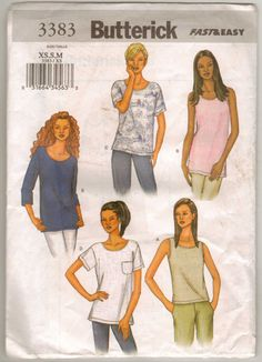 Butterick 3383 Sewing Pattern Misses Loose Fitting by brownmouse60