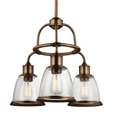 Feiss F3020/3AGB - Hobson 3 - Light Chandelier in Aged Brass