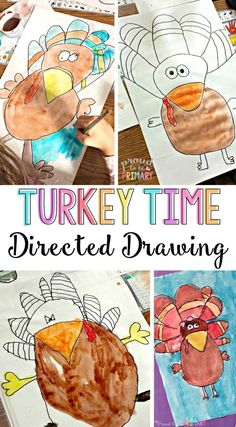 Turkey Drawing Step-by-Step for Primary Classroom Students : Looking for the perfect arts and craft activity for Thanksgiving? This turkey directed drawing provides teachers with a step-by-step lesson that kids will love! THESE turkeys turn out FANTASTIC! Fun Craft, Craft Activities, Holiday Activities, Listening Activities, Drawing Lessons, Drawing For Kids, Art For Kids, Drawing Step, Drawing Ideas
