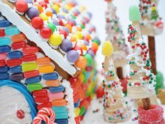 Ideas of bright colors to decorate The Candy Cottage - the re-usable gingerbread house.