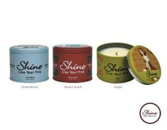 Shine Candles Premium Scented Soy Candles Jiminy Peek Memories Trio (Ocean Breeze, Rosso Currant, Ginger (6.2oz.) by Shine Candle. $44.95. Finest soy Coconut Plum blend crafted to ultimetly emit the 12% essence ,born of the highest quality fragrances available. Refreshing empowering scents. Long lasting burn time of 40 hours. Custom collectable tin delightfully designed in a retro motif. Earth friendly, responsibly made and packaged in the USA.. Celebrate the sense of self! OC...