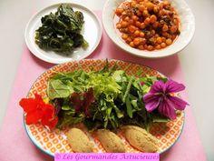 Repas complet Vegan et healthy (pois chiches, chou, salade)